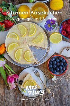 Veganer Zitronen Käsekuchen - gesund backen - Mrs Flury Vegan Cheesecake, Cheesecake Recipes, Vegan Sweets, Healthy Sweets, Sweet Bakery, Cheat Meal, Tofu, No Bake Cake, Summer Recipes