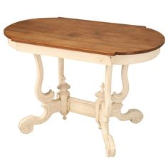 Casual Antique English Painted Pine Pedestal Based Parlor Table | From a unique collection of antique and modern end tables at http://www.1stdibs.com/furniture/tables/end-tables/