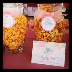 Popcorn Bar! This was the theme for a baby shower I went to!