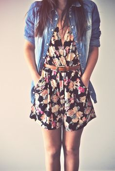Floral romper and denim shirt.  Rompers are back??!!  Am I too old to wear one?  Hmmm...