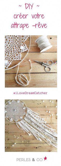 Dreamcatcher attrape rêve DIY facile napperon au crochet dentelle et franges jersey - - Creative Crafts, Diy And Crafts, Arts And Crafts, Dreamcatcher Crochet, Dreams Catcher, Los Dreamcatchers, Doily Dream Catchers, Do It Yourself Baby, Ideias Diy