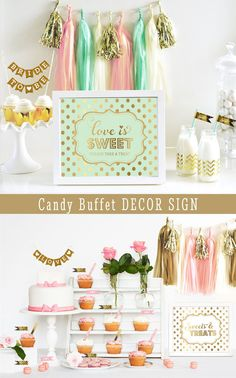 Mint and Gold Wedding Signs printed with Love is Sweet Take a Treat - great  for 09cebf1909363