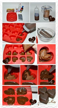 11 Great Valentine Ideas - Heart-Shaped Chocolate Truffles - Stitch and Pink Chocolate Candy Recipes, Bakers Chocolate, Chocolate Cream Cheese, Chocolate Candy Molds, Valentine Chocolate, Chocolate Hearts, Chocolate Truffles, Chocolate Brownies, Chocolate Shapes