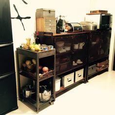 mamaikuko/ブリキワゴン/キッチン収納/黒板冷蔵庫/アイアンキャビネット/カフェ風…などのインテリア実例 - 2014-12-08 18:12:16 | RoomClip(ルームクリップ)