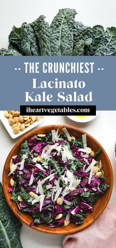 This easy kale salad is made with lacinato kale, also known as dinosaur or flat-leaf kale. Crunchy cabbage, salty Parmesan cheese, and roasted almonds create a delicious, simple salad! #crunchy #simple #delicious #salad #summer