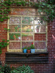 garden art, garden thing, windows, garden idea, window wall