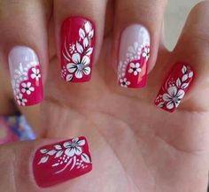 Floural Nail Art, red & white   ❤