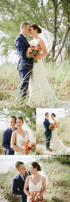 Sunset Beach House Wedding Treasure Island Florida | Florida Beach Destination Wedding | Navy Suit Lace Wedding Dress | Succulent Wedding Bouquet