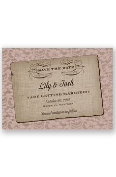 Rustic Lace Save the Date by David's Bridal | Follow us and start pinning pretty paper options - from invitations and save the dates to programs and table numbers - for a chance to win $1,000 to InvitationsbyDavidsBridal.com. Enter here: http://sweeps.piqora.com/rsvpready