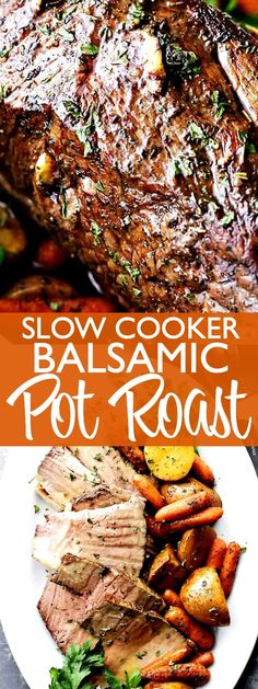 14 Crock Pot Roast Recipes That Are Insanely Popular Slow Cooker Balsamic Pot Roast - DELICIOUS fall-apart pot roast prepared in the crockpot with the most tender potatoes and carrots. A warm and hearty dinner recipe with a rich balsamic gravy. Carne Asada, Balsamic Pot Roast, Balsamic Vinegar, Best Pot Roast, Pot Roast In The Crockpot, Crock Pot Roast Beef, Best Sirloin Roast Recipe, Best Chuck Roast Recipe, Pork Roast