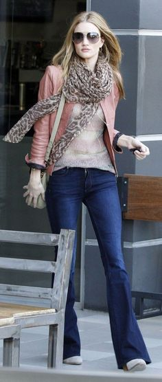 Denim flare pants + jacket + scarf