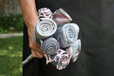 Upcycled Gray and Pink Necktie Bouquet by LouellaRoseshop on Etsy, $105.00