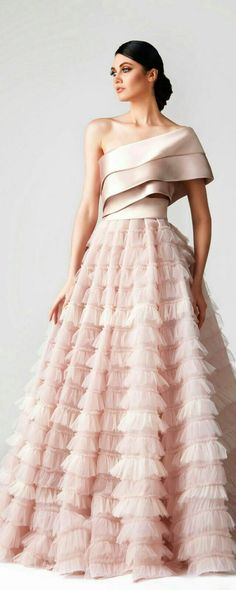 fadwa baalbaki spring 2018 couture one shoulder tiered bodice ruffled skirt romantic pink a line wedding dress mv -- Wedding Dress Trends to Love in Necklines & Sleeves Couture Dresses, Fashion Dresses, Fashion Clothes, Skirt Fashion, Evening Dresses, Prom Dresses, Long Ball Dresses, Wedding Dress Trends, Wedding Dresses