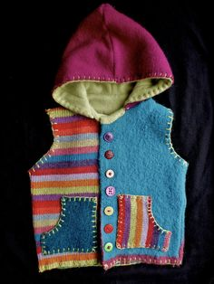 Custom Orders only at this time. Hoodie Vest with pockets and buttons, repurposed felted wool, cashmere-lined hood