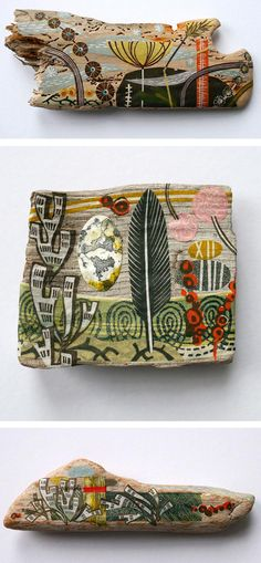 Angela Lewin collage on driftwood