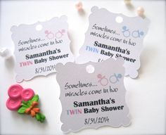 Twin baby shower favor tags custom shower tags by PaperLovePrints, $11.00