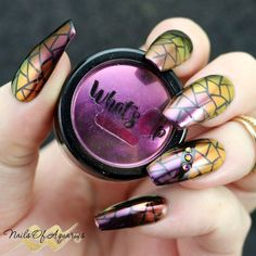 """'Shifty"""" is an easy mosaic nail art design with a crazy color shift. Created using nail vinyls and Magic Shifting Powders from What's Up Nails."""