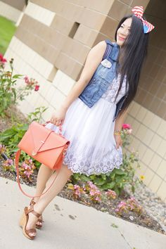 petite fashion-street style-white dress-jean vest