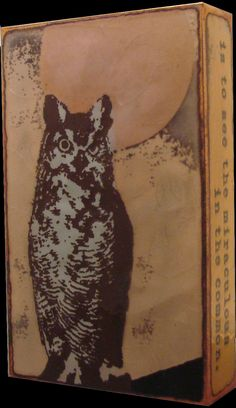 """RETIRED 034 """"Hoot"""" Spiritile by Houston Llew. Quote- """"The invariable mark of wisdom is to see the miraculous in the common."""" - Ralph Waldo Emerson. Owl design. View the current collection of Spiritiles at Quirks of Art."""
