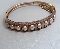 Vintage & Antique Jewelry - YELLOW GOLD PEARL BANGLE