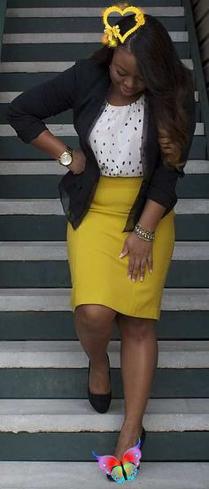 Bubble top, Loft skirt, sweater, watch<br> Summer Business Attire, Business Professional Outfits, Business Casual, Business Clothes, Business Wear, Business Fashion, Casual Work Outfits, Mode Outfits, Fashion Outfits