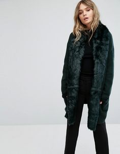 French Connection - Oversized Knitted Jacket With Faux Fur Trim