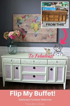 Diy Furniture Buffet Cabinet Makeover – See the before and after of what you can do with a little fabric and paint to give new life to an old dining room piece of furniture. – ToolBox Divas buffet -Read More – Sideboard Furniture, Refurbished Furniture, Painted Furniture, Distressed Furniture, Repainting Furniture, Primitive Furniture, Furniture Logo, Furniture Layout, Furniture Arrangement