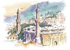 Bursa, Turkey. Watercolours by Ole Sondergaard