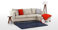 1399€ Bari, un canapé-lit d'angle avec compartiment de rangement, beige opale | made.com  | L255 x P152 x H88