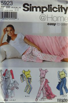 Simplicity 5923 Junior's and Misses' Pants in Two Lengths, Slippers, Bag, Blanket and Knit Top