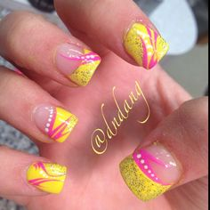 Yellow french manicure style tips with glitter, hot pink striping detail and white polka dots, free hand nail art