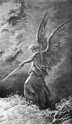"""Gustave DORÉ """"An Angel Appears to Balaam"""" (Num (detail, inv.) 1866 Engraving Ed. Gravure Illustration, Illustration Art, Illustrations, Engraving Illustration, Arte Obscura, Occult Art, Biblical Art, Angels And Demons, Classical Art"""