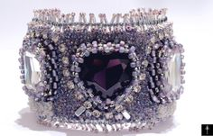Items similar to Handmade Crystal Heart Fashion Jewelry Cuff - Embroidery Beadwork Bracelet with Heart deep purple cabochon on Etsy Vintage Style, Vintage Fashion, Bridal Jewelry, Unique Jewelry, Deep Purple, Cuff Bracelets, Jewelry Design, Fashion Jewelry, Embroidery