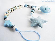Schnullerkette mit Namen Stern zum Beißen Babyblau