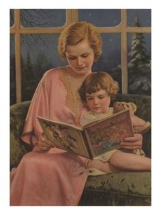 Illustration of Mother and Daughter Reading  / Giclee Print