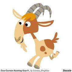 Cute Cartoon Running Goat Photosculpture Photo Cut Out