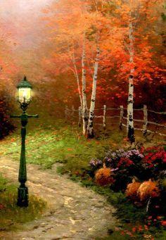 Thomas Kinkade Victorian Autumn | Thomas Kinkade The Blessing of Autumn Left