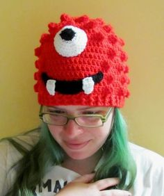 Red Cyclops Monster Crocheted Beanie Hat, made to order in all sizes Crochet Kids Hats, Crochet Beanie Hat, Crochet Cap, Beanie Hats, Mushroom Hat, Bear Character, Crochet Monsters, Sesame Street Characters, Popcorn Stitch