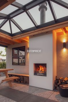 9 Pergola Patio, Backyard Landscaping, Adobe Fireplace, House Extension Plans, House Extensions, Outdoor Rooms, Skylight, Future House, Living Spaces