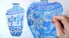 Ming Vases- oil pastel with gesso painted over-top, then scratch out designs. So cool! Great technique idea.