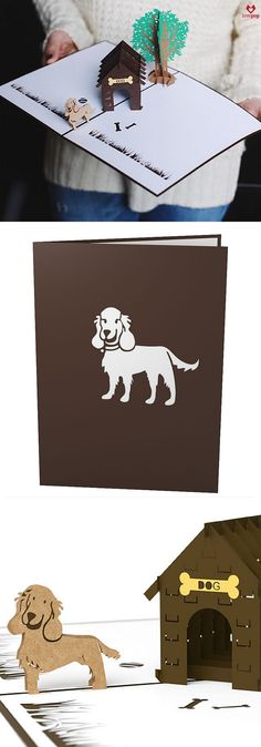 Gift your favorite puppy lover this doghouse 3D pop up card for any occasion. Give adorable paper art to say Happy Birthday to person or canine. #paws #puppies