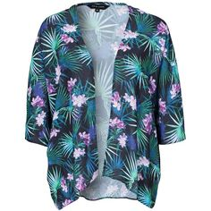 New Look Casey Tropical Crepe Kimono ($27) ❤ liked on Polyvore featuring jackets, black, blouses & shirts and womens-fashion