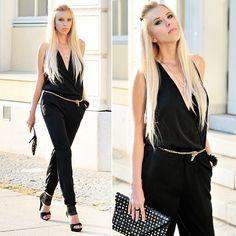 Zara Jumpsuit, Quazi Heels, Zara Bag, River Island Nyc Necklace