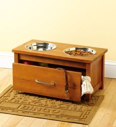 Vets say raised bowls are healthier for pets, so why not improve their dining experience with a Raised Wooden Pet Feeder and Storage Drawer? Dog Storage, Storage Drawers, Wooden Dog Kennels, Raised Dog Bowls, Dog Bowl Stand, Food Stands, Dog Feeder, Pet Bowls, Dog Accessories