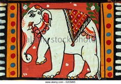 Indian wood painting of an elephant - Stock Image