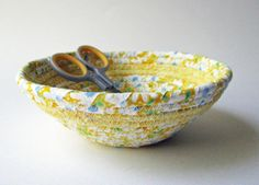 Coiled Fabric Basket  Yellow Small by CornerstoneLAE on Etsy, $8.00