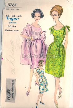 Vogue 5767 Vintage 1960s Sleeveless Evening Dress Sewing Pattern by DejaVuPatterns
