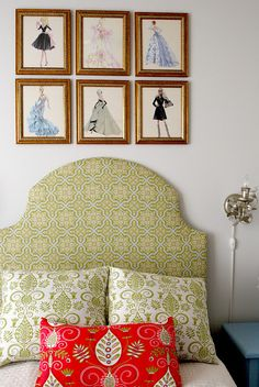 DIY: Beautiful Upholstered Headboard (Simple Tutorial) - - Also love the vinatge fashion pages framed above the bed.