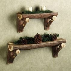 Timber Log Wall Shelf from Touch of Class. These are resin, but real log shelves would be cool. Love the idea.Rustic Timber Log Wall Shelf from Touch of Class. These are resin, but real log shelves would be cool. Love the idea. Timber Logs, Timber Walls, Wood Logs, Birch Logs, Raw Wood, Country Decor, Rustic Decor, Decor Western, Arte Country