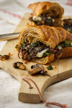 Whole Wheat Croissant with Mushrooms, Kale, Caramelized Onions and Goat Cheese